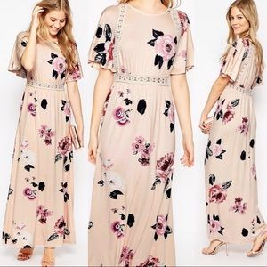 ASOS Angel Sleeve Lace Insert Floral Maxi Dress